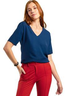 Blusa Mx Fashion Crepe Constance Azul Marinho