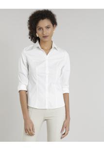 Camisa Feminina Básica Estampada De Poás Manga Longa Off White