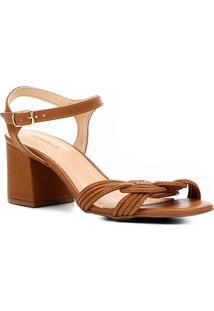 Sandália Shoestock Salto Bloco Tranças Feminina - Feminino-Caramelo