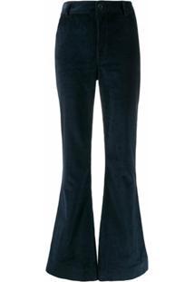 Katharine Hamnett London Calça Flare Marina De Veludo Cotelê - Azul