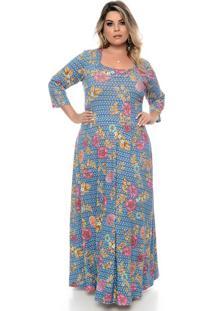Vestido Genova Azul Plus Size