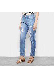 Calça Jeans Maria Filó Destroyed Cintura Média Feminina - Feminino