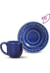 Jogo De Xícaras De Café Acanthus- Azul Escuro- 6Pçs