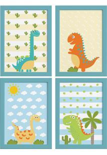 Quadros Para Quarto Dinossauro Baby 2 22X32Cm Moldura Azul Kit 4Pçs