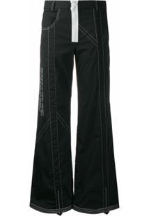 Off-White Calça Pantalona Com Pesponto Contrastante - Preto