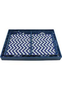 Bandeja Retangular Decorativa Btc Em Resina Com 3 Peças - Azul Royal/Branco