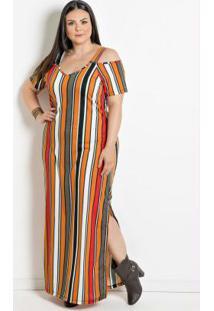 Vestido Longo Plus Size Listrada
