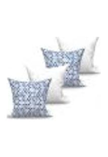 Conjunto De Capas Para Almofada Com 4 Peças Medalhão Triângulo Azul E Branco 60X60 Cm