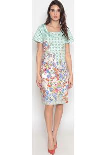Vestido Floral- Verde & Branco- Cotton Colors Extracotton Colors Extra