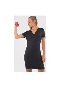 Vestido Colcci Fitness Curto Lettering Preto