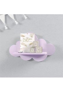 Prateleira Nuvem Lilás Quarto Bebê Mdf P 30Cm Grão De Gente Roxo