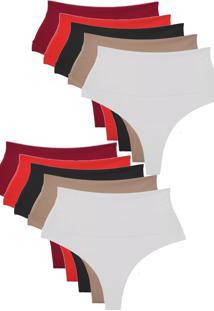 Kit 10 Calcinhas Modeladoras Vip Lingerie Fio Duplo Multicolorido - Multicolorido - Feminino - Dafiti