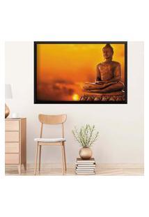 Quadro Love Decor Com Moldura Buda Em Lótus Preto Médio