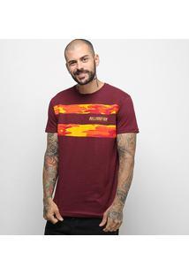 Camiseta Bulldog Fish Camo Stripes Masculina - Masculino-Vinho