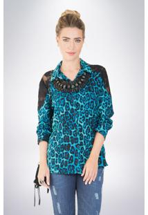 Camisa Mercatto Estampada Azul