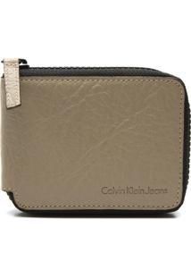 Carteira Couro Calvin Klein Textura Bege