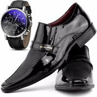 1f9c46cbef Kit Sapato Social Verniz Com Relógio Gofer 0258L Azul Preto