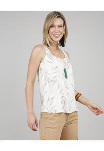 Regata Feminina Ampla Estampada De Folhagens Decote Redondo Off White