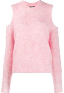 Diesel Suéter M-Lara Com Recortes Nos Ombros - Rosa