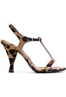 L'Autre Chose Sandália Com Estampa De Leopardo E Salto 105Mm - Preto