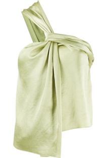 Nanushka Blusa De Cetim Com Detalhe Torcido - Verde