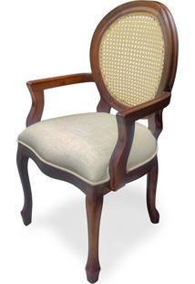 Cadeira Imperial Com Braço Com Palhinha Em Imbuia Natural Estofada Em Linho