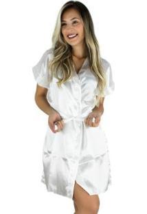 Robe Mvb Modas Cetim Feminino - Feminino-Branco