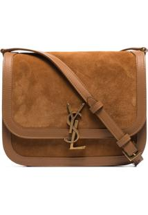 Saint Laurent Lock Medium Shoulder Bag - Marrom