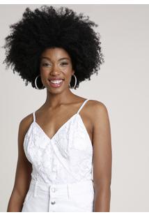 Body Feminino Transpassado Em Renda Alça Fina Decote V Branco