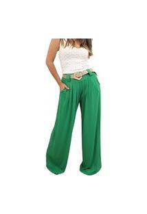 Calça Pantalona Em Viscolycra Mania De Sophia Verde Bandeira