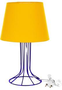 Abajur Torre Dome Amarelo Com Aramado Azul - Amarelo - Menino - Dafiti