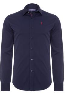 Camisa Masculina Stretch Gorgurão - Azul