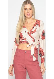 Blusa Cropped Floral- Bege & Vermelha- Skunkskunk