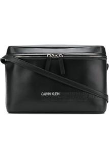 7626d76b7 ... Calvin Klein 205W39Nyc Bolsa Transversal De Couro Com Logo - Preto