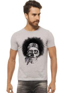 Camiseta Masculina Joss Caveira Black Power Cinza