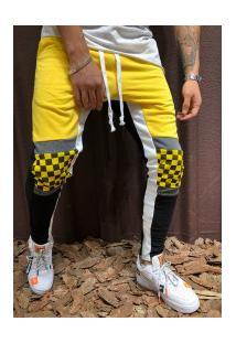 Calça Masculina Slim Chess Detail Duas Cores - Amarelo E Preto