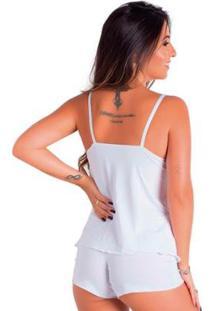Baby Doll Conforto Short E Camiseta Linha Noite Lingerie Feminino - Feminino-Branco