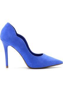 Scarpin Curvas Nobuck Salto Fino - Feminino-Azul