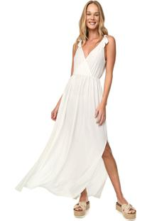 Vestido Cantão Longo Metalizado Off-White