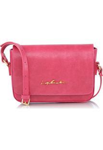 Bolsa Pequena Em Couro Texturizado Rosa