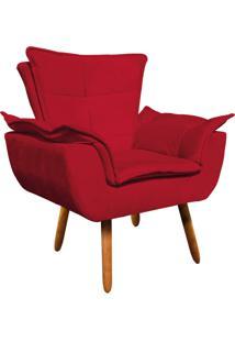 Poltrona Decorativa Opala Suede Vermelho - D'Rossi - Vermelho - Dafiti