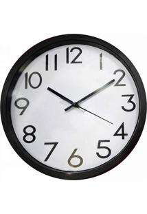 Relógio De Parede De Plástico Preto E Branco - Tricae
