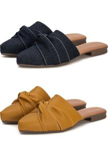 Kit Sapatilha Mule Slip Feminino Confort Bico Fino Mostarda/Jeans - Jeans - Feminino - Dafiti