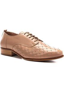 Oxford Couro Shoestock Matelassê Metal Feminino - Feminino-Bege