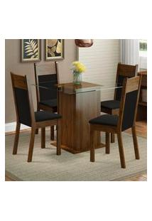 Conjunto Sala De Jantar Madesa Miami Mesa Tampo De Vidro Com 4 Cadeiras Marrom