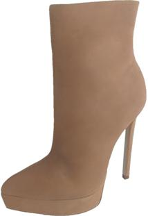 Ankle Boot Plataforma Topgrife Couro Nude