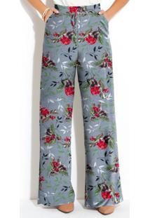 Calça Pantalona Floral Cinza Cintura Alta