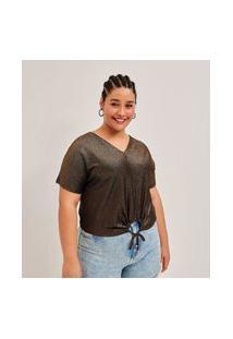 Blusa Malha Brilho Curve E Plus Size Preto