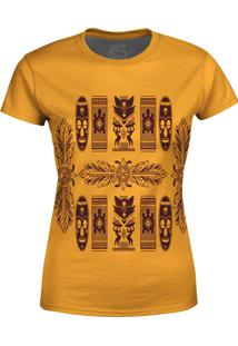 Camiseta Estampada Baby Look Over Fame Tribal Africana Bege - Bege - Feminino - Poliã©Ster - Dafiti