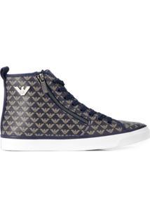 Emporio Armani Logo Hi-Top Sneakers - Azul